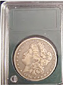 1896 O Morgan Silver Dollar Plastic Encased