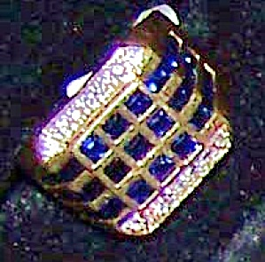 Man's 14k Yellow Gold Ring W/ 39 Square Sapphire Stones.