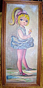 Antique Ballerina Oil Painting With Oak Frame.