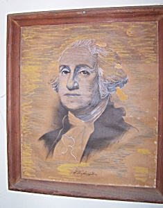 George Washington portrait sketch in antique frame. (Image1)
