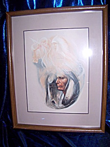 Glass Framed Portrait Of Indian Man With Phantom Warrior
