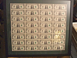 Uncut Currency Sheet of 32 2003 $1 bills RARE ITEM (Image1)