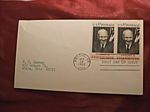 2 Eisenhower 6c stamps 1969 first day of issue (Image1)