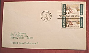 2 Christmas 6c stamps 1969,  first day of issue (Image1)