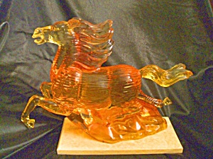Orange Resin Horse Sculpt on Marble Base. WOW! (Image1)