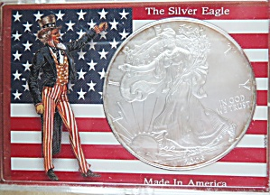 2008 American Silver Eagle, Nice Luster, In Patriotic Display Case.