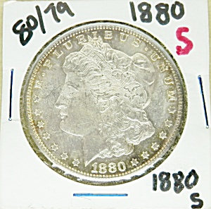 Morgan silver dollar 1880-S, 80 over 79 (Image1)