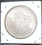 Click here to enlarge image and see more about item 020708001: 1885 Morgan Silver Dollar high quality MS coin