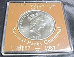 Click here to enlarge image and see more about item 021308002: New Zealand 1987 National Park Centennial Silver dollar