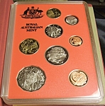 Click here to enlarge image and see more about item 022108001: 1990 ROYAL AUSTRALIAN MINT ABORIGINAL PROOF 8 COIN SET
