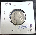 Click here to enlarge image and see more about item 030108004: World War II era Jefferson Nickel 1940 G