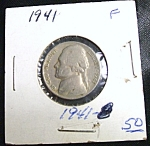 Click here to enlarge image and see more about item 030108005: World War II era Jefferson Nickel 1941 F