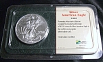 Click here to enlarge image and see more about item 030208006: Silver American Eagle 2001 Brilliantly Uncirculated