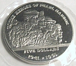 Click here to enlarge image and see more about item 031108003: The Heroes of Pearl Harbor $5 commemorative coin