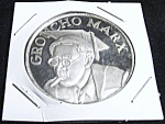Click here to enlarge image and see more about item 031108005: Groucho Marx fine silver commemorative coin RARE