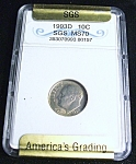 Click here to enlarge image and see more about item 031108006: 1993D SGS MS70 dime.