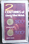 Click here to enlarge image and see more about item 032608002: 2 Centuries of Liberty Head Nickels w Cert. of Auth.