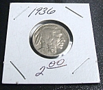 Click here to enlarge image and see more about item 032608008: Indian Head Buffalo Nickel 1936