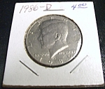 Click here to enlarge image and see more about item 040408003: Kennedy half dollar 1986-D