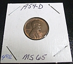Click here to enlarge image and see more about item 040408007: Lincoln Penny 1954-D MS 65