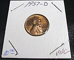 Click here to enlarge image and see more about item 040408008: Lincoln Penny 1957-D UNC
