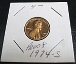 Click here to enlarge image and see more about item 040408009: Lincoln Penny 1974-S Proof