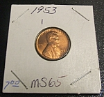 Click here to enlarge image and see more about item 041408011: Lincoln Penny 1953 MS 65