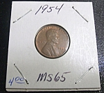 Click here to enlarge image and see more about item 041508002: Lincoln Penny 1954 MS 65