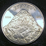 Click here to enlarge image and see more about item 041808007a: Mt. Everest .999 fine silver coin Englehard  1986 rare