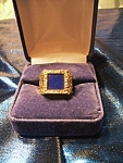 Click here to enlarge image and see more about item 042508001: Man's 18k yellow gold ring with square lapis stone.