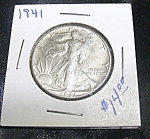 Click here to enlarge image and see more about item 050708011: Liberty Walking Half Dollar 1941 90 % silver.