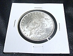 Click here to enlarge image and see more about item 050808001: Morgan Silver Dollar 1889 uncirculated quality coin.