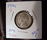 Click here to enlarge image and see more about item 052308002: Jefferson Nickel 1944 D wartime 35% silver.