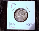 Click here to enlarge image and see more about item 080108014: Jefferson Nickel wartime 1942 P 35% silver.