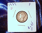 Click here to enlarge image and see more about item 090408010: Mercury Dime 1939 D  F