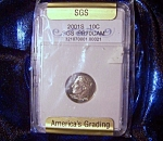 Click here to enlarge image and see more about item 090408017: Roosevelt Dime 2001S SGS certified PR70 Cameo