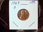 Click here to enlarge image and see more about item 090908022: Lincoln Penny 1969 D
