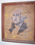 George Washington portrait sketch in antique frame.