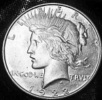 Click here to enlarge image and see more about item 101008011: Peace silver dollar 1922