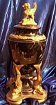 Click here to enlarge image and see more about item 101608007: Antique Brass Lion's Head Urn.