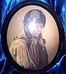 Click here to enlarge image and see more about item 102108006: Oval framed portrait of Indian girl