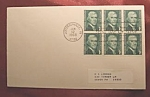 Block of 6 1c Thomas Jefferson stamps 1st. day of issue