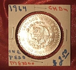 Click here to enlarge image and see more about item 112907006: 1964 Mexican Peso CH BU