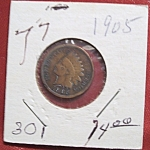 Click here to enlarge image and see more about item 121007014: Indian Head Penny 1905