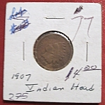 Click here to enlarge image and see more about item 121007017: Indian Head Penny 1907