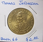 Click here to enlarge image and see more about item 121707011: Thomas Jefferson commemorative token