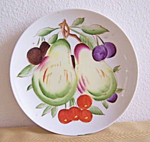 7 in. Plate Decorated with Pears & Cherries, Japan (Image1)