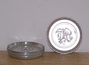 5 ALUMINUM COASTERS, INITIALED WITH LETTER, J (Image1)