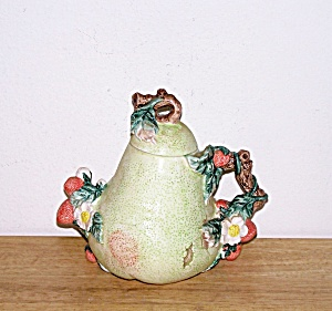 Strawberries On Pear Shaped Tea Pot