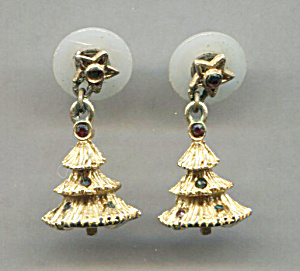 Pair Of Tiny Christmas Tree Earrings